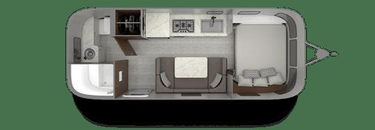 Airstream Caravel 22FB Floorplan